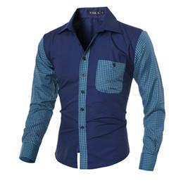 Wholesale Cheap Xxl Dresses - Cheap New Men's Dress Shirts Plaid Splicing Tops Long Sleeve Turn-down Fashion Leisure Clothing Men Slim Spring Fall Shirts M-XXL