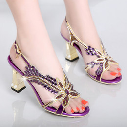 Wholesale Thick Purple High Heels - summer 2017 new high-heeled sandals, thick with shoes female han edition sandals crystal sexy set auger banquet wedding shoes in Rome