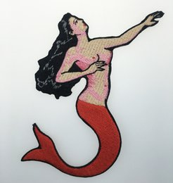 Wholesale Suit Badges - Hot Selling! 10 pcs  Lot Mermaid Beauty Embroidered Twill Patch Iron On Clothing 100% Embroidery DIY Applique Badge Flight Suit Emblem G0471
