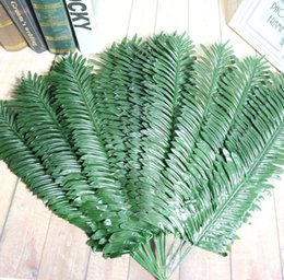 Wholesale Craft Bouquet - 20pcs Artificial Butterfly Palm Areca palm Leaves For Craft Wedding Bridal Bouquet Home Office Wreath Decoration