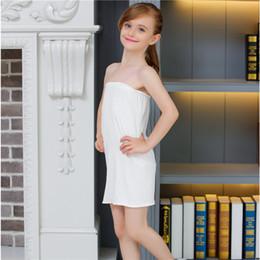 Wholesale White Knee Length Tube Dress - White Kids Girls Long Tube Top Modal Underwear Dress Free shipping