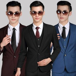 Wholesale Korean Style Wedding Clothes - Wholesale- Free shipping new 2015 Korean style men clothing men suit jackets one button two button wedding suits for men suits with pants