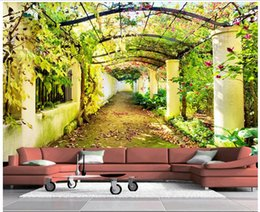 Wholesale Garden Wall Mural Wallpaper - 3d wallpaper custom photo Non-woven mural Flower garden corridor scenery room decor painting picture 3d wall muals wall paper for walls 3 d