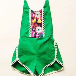 Wholesale Baby Striped Bodysuit - 7 Colors Baby Girls Tassel Jumpsuits Kids Girl Floral Print Rompers for Infants Newborn Babies Bodysuit Princess Playsuit Outfit Sunsuit Set