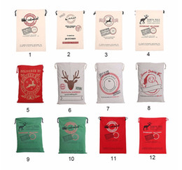 Wholesale Wholesale Canvas Bags For Kids - Christmas Gift Bags Large Organic Heavy Canvas Bag Santa Sack Drawstring Bag With Reindeers Santa Claus Sack Bags for kids
