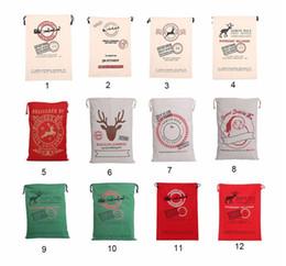 Wholesale Gift Bag Big - Christmas Gift Bags Large Organic Heavy Canvas Bag Santa Sack Drawstring Bag With Reindeers Santa Claus Sack Bags for kids