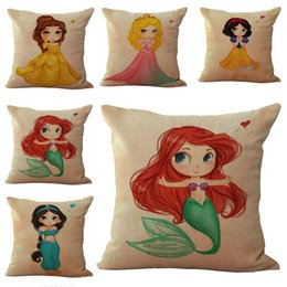 Wholesale Princess Throw - Little Girls Mermaid Princess Pillow Case Cushion cover Linen Cotton Throw Pillowcases sofa Bed Pillowcover Drop shipping PW484