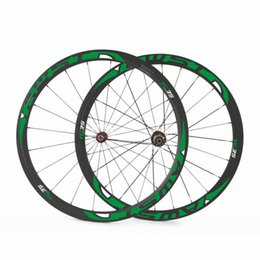 Wholesale Cheap Bicycle Carbon Wheels - AWST Green black glossy carbon wheelset 38mm 100% cheap carbon wheels 700c road bike clincher tubeless bicycle wheels free shipping