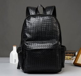 Wholesale European Knitting Bag - Wind leisure knitting factory wholesale brand men's bags college backpack traveling fashion retro contracted brand leather woven men backpac