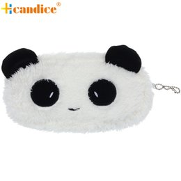 Wholesale Cute Plush Pencil Case - Wholesale- Naivety 2016 New Mini Cute Plush Panda Pen Pencil Case Cosmetic Makeup Bag Coin Purse Wallet Good For Gift JUL28 drop shipping