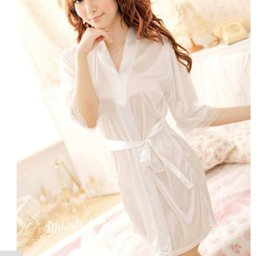 Wholesale Comfortable Sexy Sleepwear - Night-robe for women Sexy Silky Lingerie Sleepwear Lovely girl Lace long bath robe comfortable sleep wear
