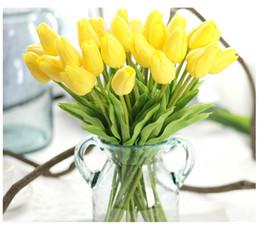 Wholesale Plastic Bouquet - 11 colors PU & Plastic Slik Flower bouquet 34 cm 13.4 inch Mini Real touch flowers