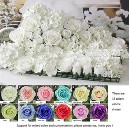 Wholesale Free Rose Background - Artificial silk rose flower wall wedding background lawn pillar flower road lead home market decoration Free Shipping 10pcs lot
