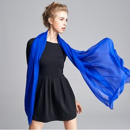 Wholesale Cool Silk Scarves - Solid Color Silk Scarf Shawls Long Length Beach Towel Silk Robe Cape Wrap Cool Shade Ride Vocation Elegant A103
