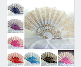 Wholesale Lace Ladies Fan Wholesale - Beautiful peacock lace fan spanish plastic folding fan Ladies dance fan colorful YongChun folding fans Wedding lace fans