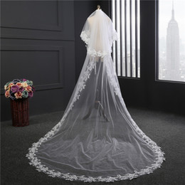 Wholesale Real Wedding Style - 3m Wedding Veils Two Layers Cut Edge See Through Tulle New Style Real Images White Ivory Applique Lace Bridal Veil with Comb