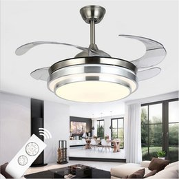 Wholesale Lamp Pvc - Ultra Quiet Ceiling Fans 110-240V Invisible Blades Ceiling Fans 42 inch Modern Fan Lamp Living Room European Ceiling Light