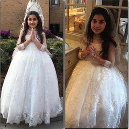 Wholesale Teen Dresses For Weddings - Ball Gown Lace Girls Wedding Dress Jewel Beads Sheer Neckline Princess Girls Pageant Dresses For Teens 3 4 Long Sleeves Flower Girl Dress