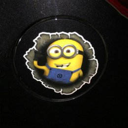 Wholesale Car Tank Cover - OTOKIT 3D Despicable Me Minions Cute Funny Cartoon Glue Sticker Car Decal Cover Waterproof Reflective Fuel Tank Auto Car Sticker
