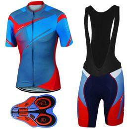 Camisetas de ciclismo cool hombres online-Cool Design Cycling Jerseys Set Azul Rojo Tops de ciclismo + 9D Gel acolchado Shorts Quick Dry Hombres Mujeres SIZE XS-4XL Bicycle Clothing