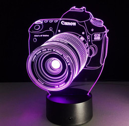 Wholesale Digital Wedding Cameras - Christmas Gift Indoor Decoration 3D Digital Camera Shaped USB Night Light LED 7 Colors Flashing Kids Bedside Acrylic Table Lamp
