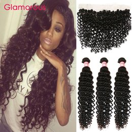 Glamorous Virgin Human Hair Ear to Ear Lace Frontal Brazilian Peruvian Malaysian Indian Deep Wave Curly Hair with Lace Frontal 4Pcs Lot Coupons