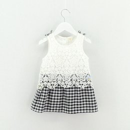 Wholesale Girls Crochet Lace Vests - Summer Kids Girls Crochet Lace Dresses Baby Girl Princess plaid Dress Babies Summer Vest Dress 2017 children's clothing