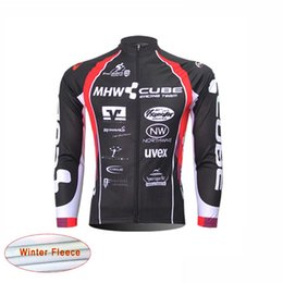 Wholesale Cube Long Sleeve Cycling Top - New cube team Pro Cycling Jersey bike clothes Ropa Ciclismo maillot thermal fleece Winter Bicycle clothing men\'s long sleeve MTB Wear B1306
