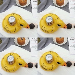Wholesale Kids Bath Toy Holder - Wholesale Yellow Duck PVC Inflatable Drink Cup Holder Beverage Holders Floating Pool Beach Stand Swimming Pool Child's Play Kids Bath Toy