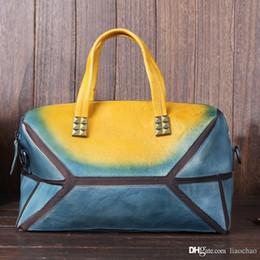 Wholesale Coloured Dresses - Women patent leather gradient colour quilted diamond lattice handbag bags
