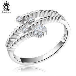 Wholesale Silver Wedding Ring Waves - Orsa Jewerly New Arrived Genuine 925 Silver Rings Wave Design Adjustable Finger Rings For Women SR03