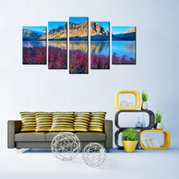 Wholesale Lake Wall Art - 5 Panels Landscape Canvas Painting Beautiful Mountain Lake Scenery Picture Print with Wooden Framed Wall Art For Home Decoration