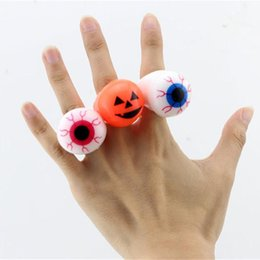 Wholesale Rubber Led Light Ring - Halloween LED Flashing Rings Soft Rubber Eye Ring Kids Ring Toys Finger Light LED Novelty Design Party Decoration Supplies Christmas Gifts