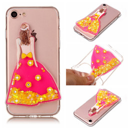 Wholesale Transparent Dress Bling - Bling Glitter Wedding Dress Women Liquid TPU Soft Transparent Case Kickstand for iphone 7 7 plus 6 6s 6 plus 6s plus itouch 5 6