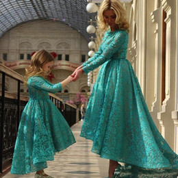 Wholesale High Low One Shoulder Dresses - Modern Full Lace Mother And Daughter Prom Dresses 2017 Long Sleeves High Low Evening Party Wear A Line Arabic Formal Gowns