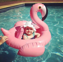 Wholesale Toddler Floating Ring - Summer Flamingo Seat Float Inflatable baby swimming rings Infant &Toddlers Swim Baby Boys Girls Circle Pool Toys 2017