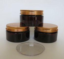 Wholesale glass amber jars - 20 x 100 gram Amber PET Jar with Gold Aluminum Lids, 100cc Plastic Make Up Jar