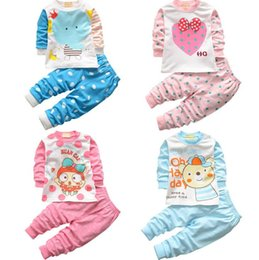 Wholesale Sleepwear For Kids Long Sleeves - Baby pajamas set 100% cotton children sleepwear 2pcs baby clothes suit for 1~4 Y kids 4s l
