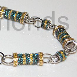 Wholesale Diamond Necklace Mens - 14K White Gold 30.2 ct Blue Yellow Diamond Bullet Link Mens Chain 8 mm 30 Inches