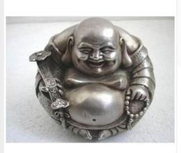 "Wholesale Rare Buddha - Buddhism Collect Rare Tibet Silver ""happy ""Buddha Statue Tibetan Silver decoration bronze factory outlets"