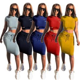 Wholesale T Shirts Sexy Holes - Women's Clothing dresses fashion Sexy hollow broken hole Two Piece Dress Women's Two Piece Sets women Crew Neck T shirt tops +Short dress