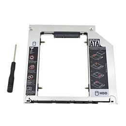 "Wholesale Sata Macbook Caddy - Wholesale- Super Heat Dissipation For Macbook Pro 13""15""17"" SuperDrive Optical Bay Aluminum 2nd HDD Caddy 9.5mm SATA3.0 Case HDD Enclosure"