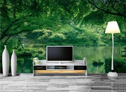 Papéis de parede verdes simples on-line-Simples Simples Nórdico Moderno 3d Quarto Papel De Parede Paisagem verde quarto papéis de parede Decoração de Casa Plantas