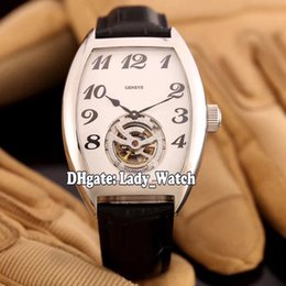 Wholesale Tourbillon Cheap - 2017 Cheap New High Quality Luxry Brand CINTREE CURVEX Diamond TOURBILLON White Dial 8880 T Automatic Mens Watch Leather Strap Gent Watches