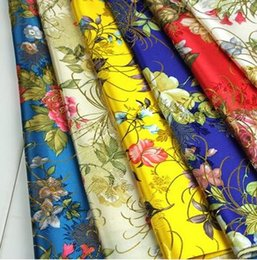Wholesale African Brocade Fabric - freeshipping 8 color Gold silk brocade cheap fabric,Dresses stripe cheongsam floral fabric,african lace fabric print satin fabrics 70CM,B138