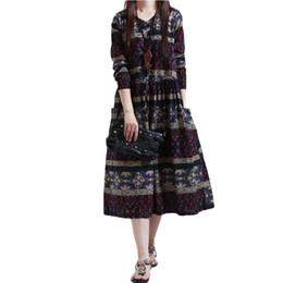 Wholesale Wholesale Short Cotton Maxi Dresses - Wholesale- Maxi Autumn Winter Dress For Women Vintage Plus Size Floral Print Long Dress Vestidos Longo Robe Slim Cotton Linen Dresses 2017