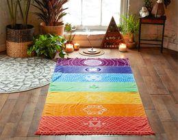 Wholesale India Yoga - Polyester Bohemia Wall Hanging India Mandala Blanket 7Chakra Colored Tapestry Rainbow Stripes Travel Summer Beach Yoga Mat 0711025