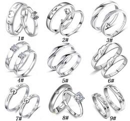 925 sterling silber jewerly online-925 Sterling Silber Jewerly Paar Ringe Mit Strass Öffnung Einstellbare Liebhaber Ring Für Frauen Und Männer