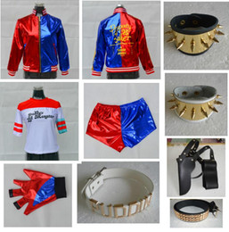 Wholesale Clown Cartoon - Suicide Squad Harley Quinn Cosplay Costume Sets 2017 Cartoon Suicide Squad Joker Cosplay Costume PUDDIN Jacket Coat Tshirt Glove Holster