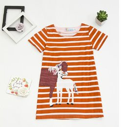 Wholesale Horses Chiffon Shirt - Embroidery Horse Baby Girl Dress 100% Cotton Girl Blouses Summer Kids Tops Jumpers Children Clothes Shirts Infant Dress Vestidos
